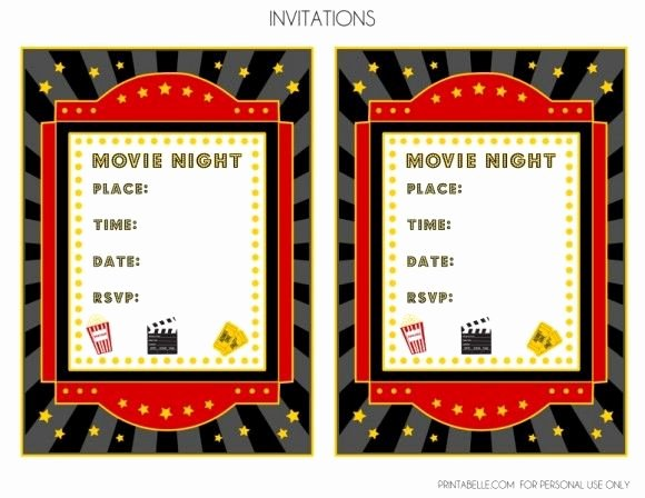 Movie Party Invitations Template Beautiful Free Movie Night Party Printables