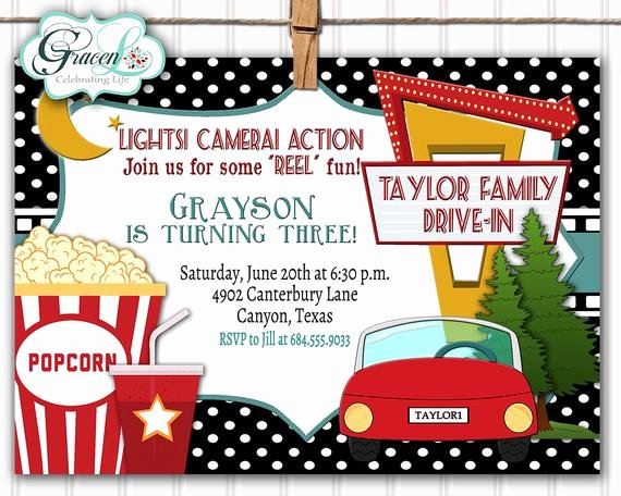 Movie Party Invitations Template Best Of Drive In Movie Invitation Outdoor Movie Party Invitation