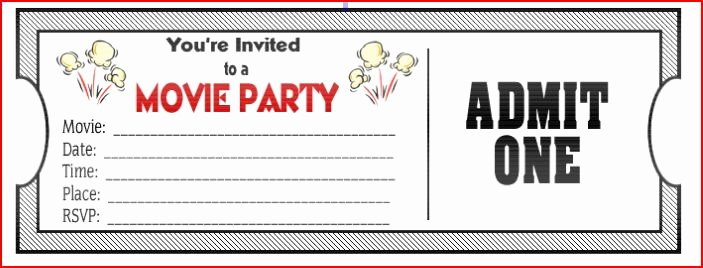 Movie Party Invitations Template Fresh Movie Ticket Birthday Invitations Ideas – Free Printable