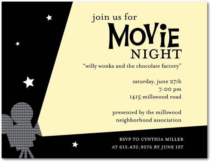 Movie Party Invitations Template Inspirational Outdoor Movie Night Invitation Template
