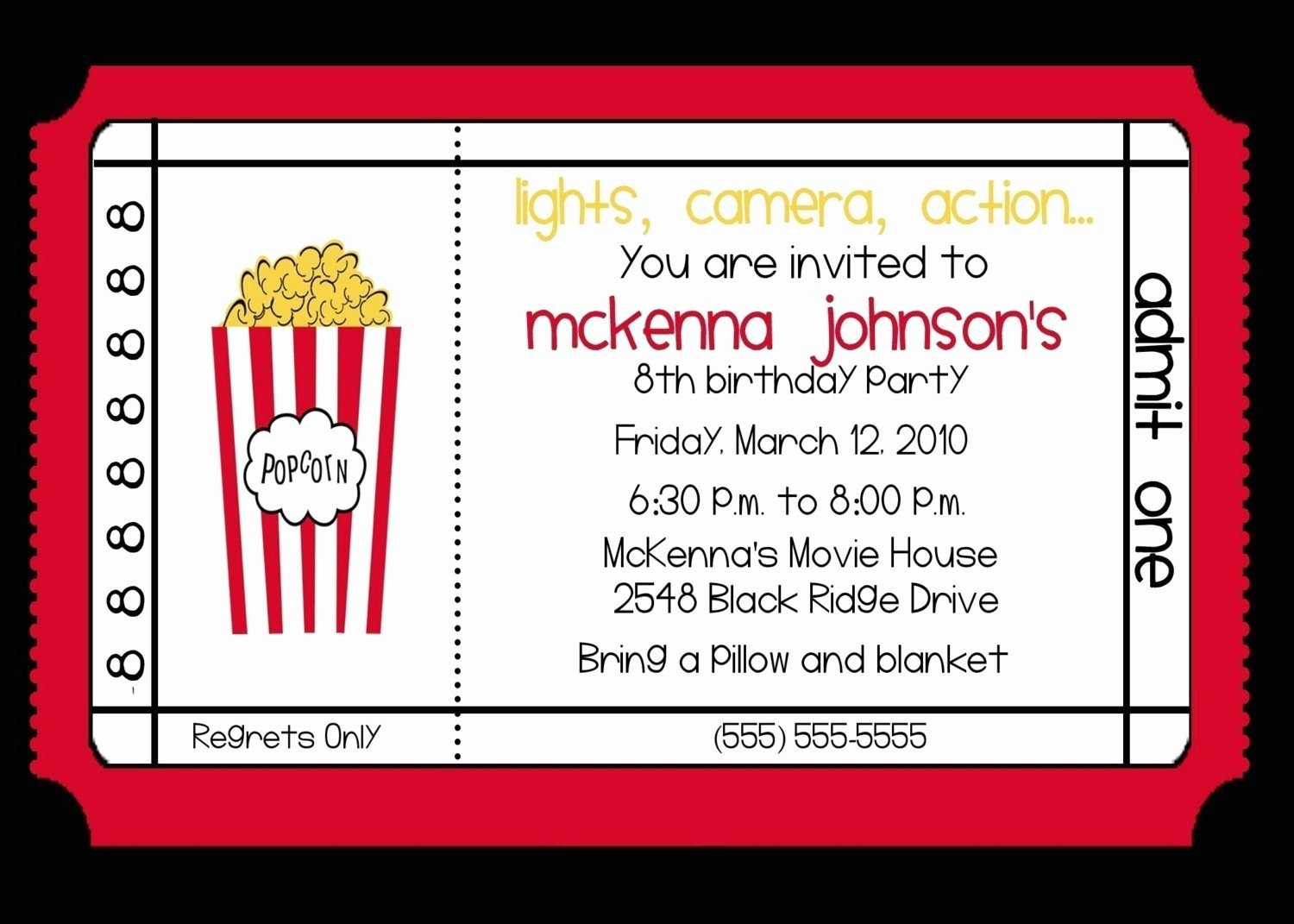 Movie Party Invitations Template Luxury Movie theater Birthday Party Invitation by Nattysuedesigns1