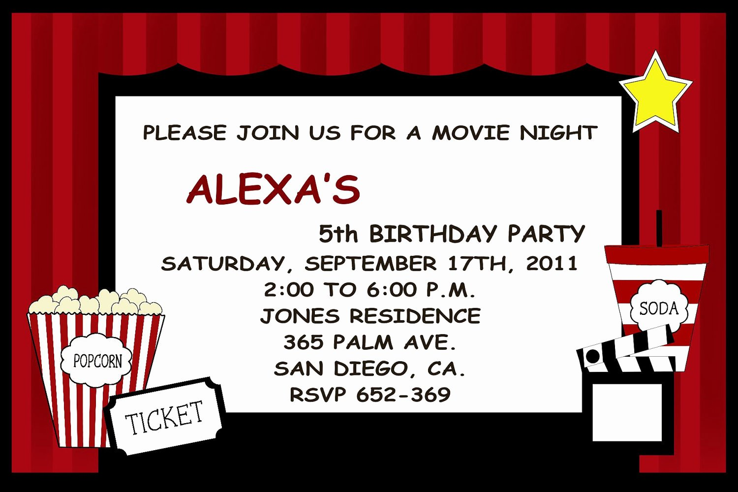 Movie Party Invitations Template New Movie Invitations Templates