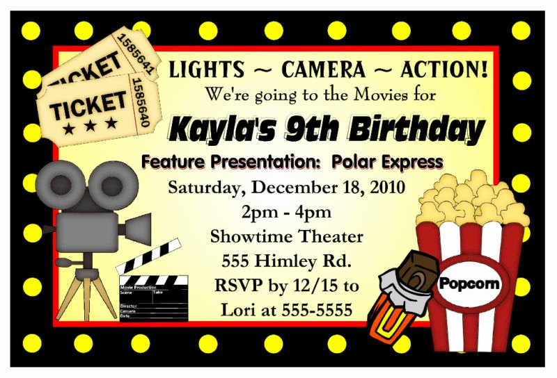 Movie Party Invitations Template New Movie Night Birthday Party Invitations Hollywood