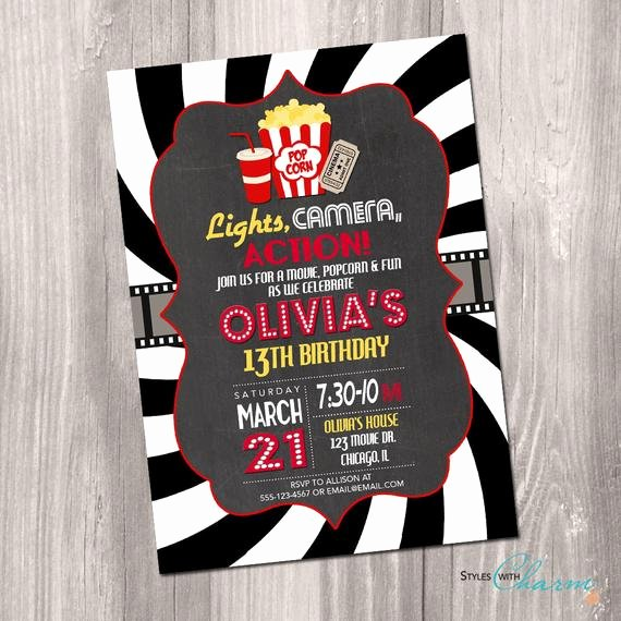 Movie Party Invitations Template New Movie Party Invitation Movie Night Birthday Invitation