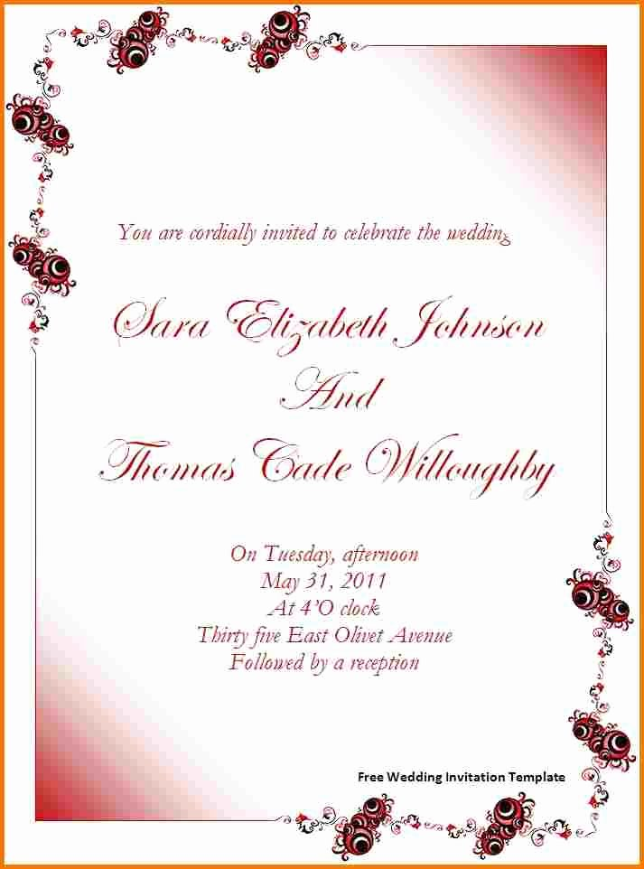 Ms Office Invitation Template Beautiful Free Wedding Invitation Templates for Word