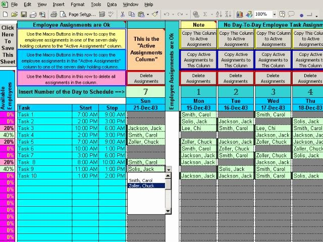 Multiple Employee Schedule Template Beautiful assign Multiple Daily Tasks to 20 People 7 8 Download