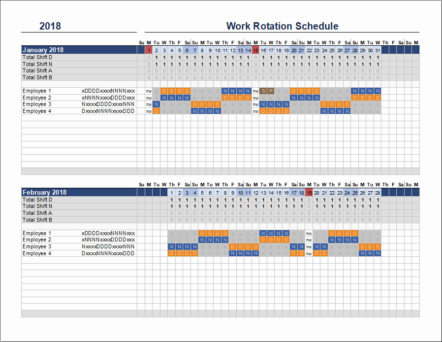 Multiple Employee Schedule Template Luxury Free Rotation Schedule Template