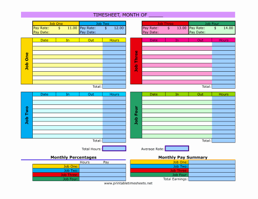 Multiple Employee Schedule Template New Multiple Job Timesheet Printable Time Sheet