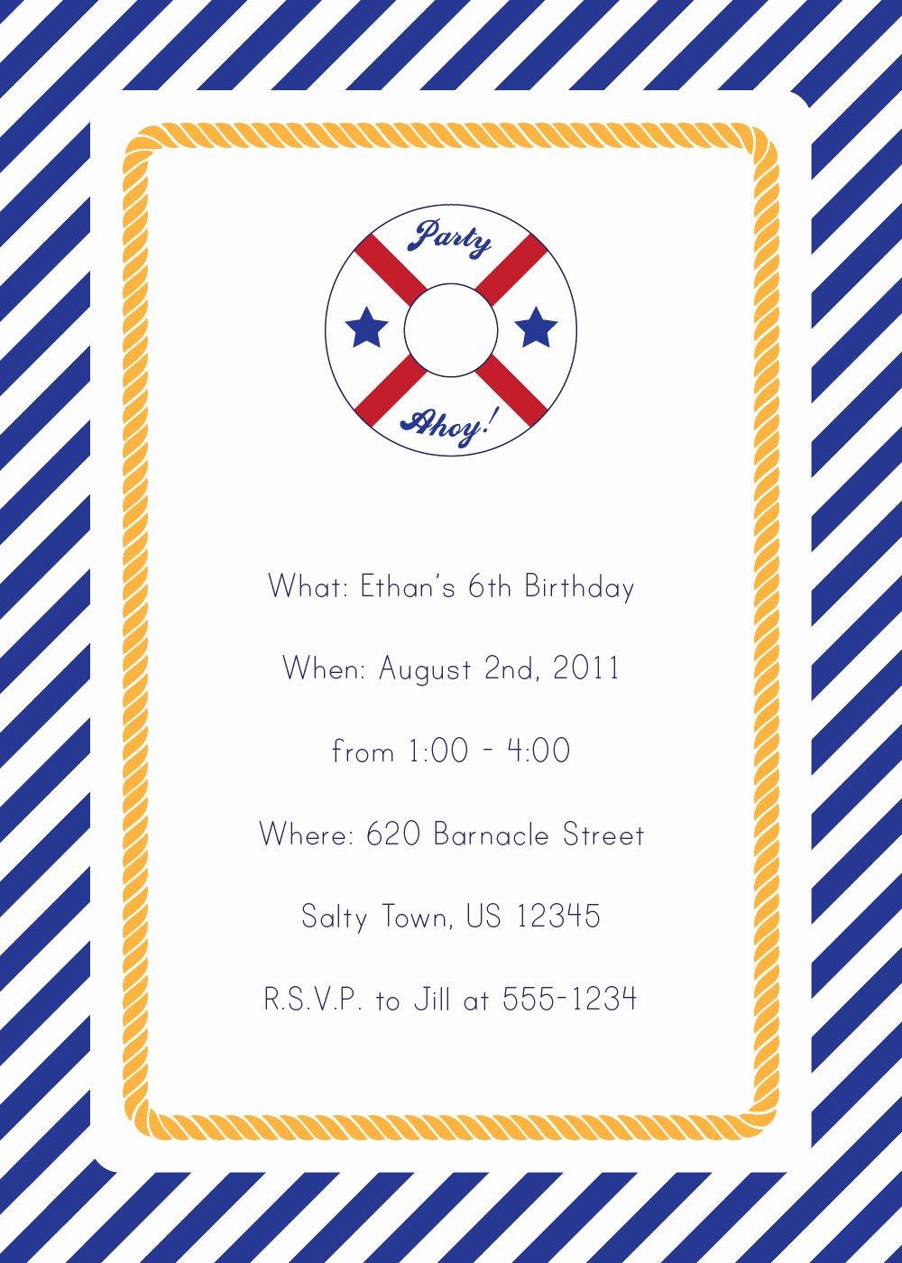 Nautical Invitation Template Free Awesome 40th Birthday Ideas Nautical Birthday Invitation Templates