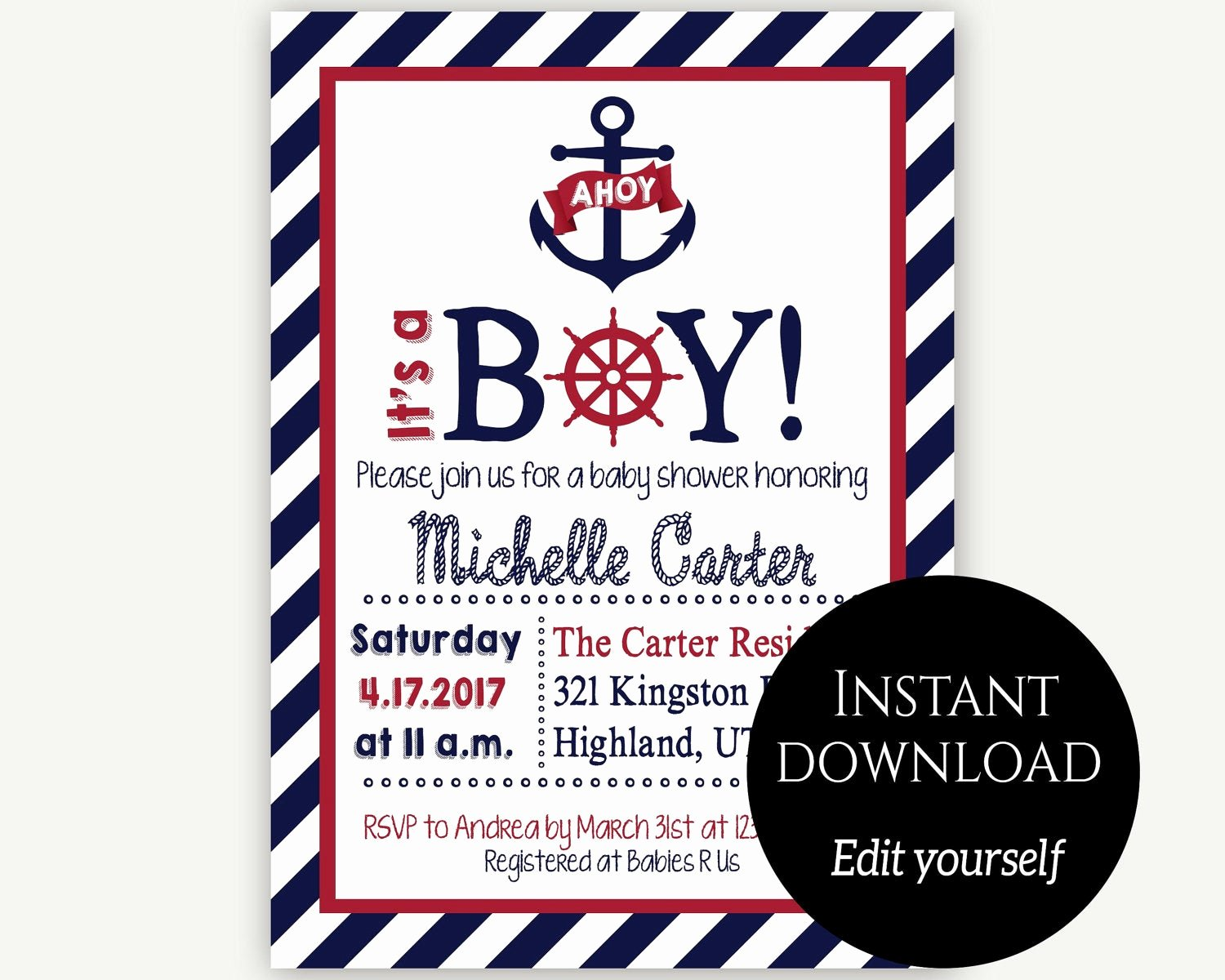 Nautical Invitation Template Free Awesome Baby Shower Invitation Template Nautical Baby Shower Invite