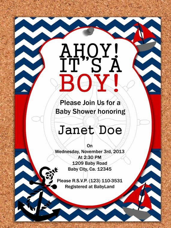 Nautical Invitation Template Free Awesome Printable Invitation Nautical Baby Shower by atomdesign On