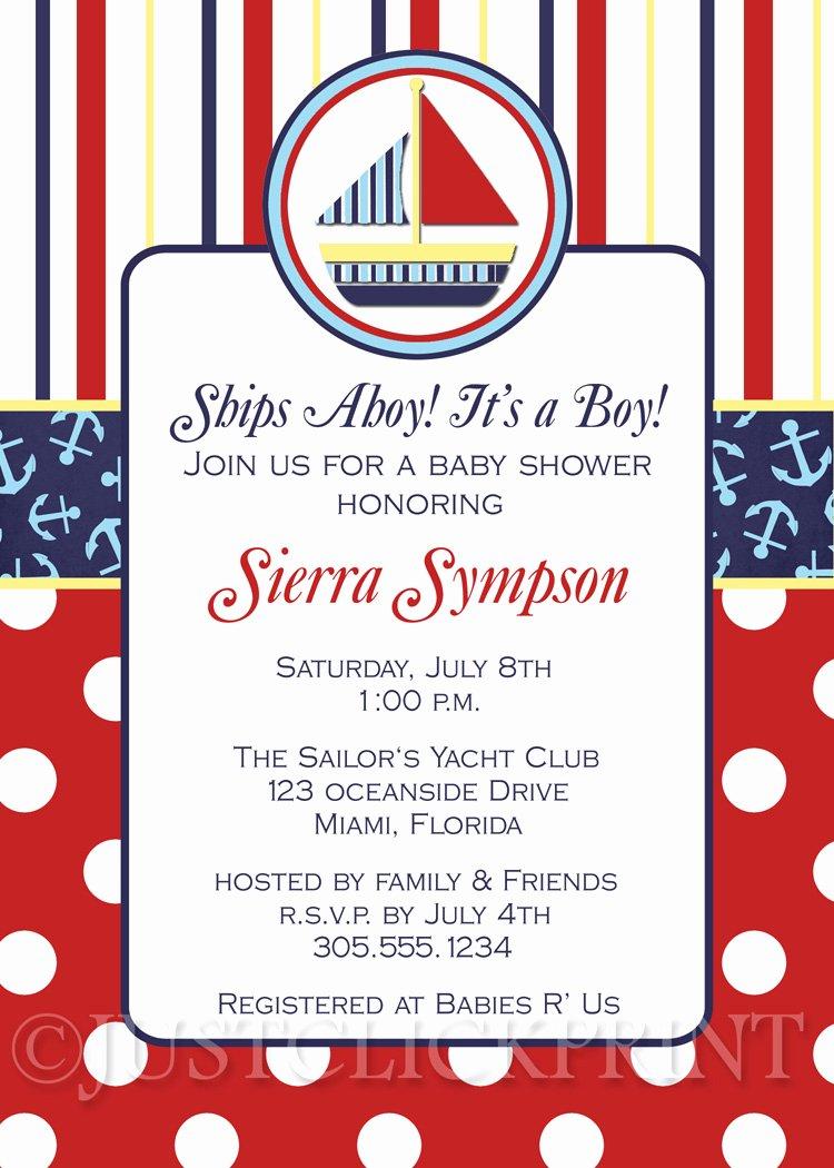 Nautical Invitation Template Free Beautiful Sailboat Nautical Baby Shower Invitation Printable · Just