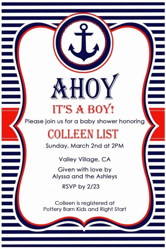 Nautical Invitation Template Free Fresh Nautical Baby Shower Invitations Free Nautical Baby