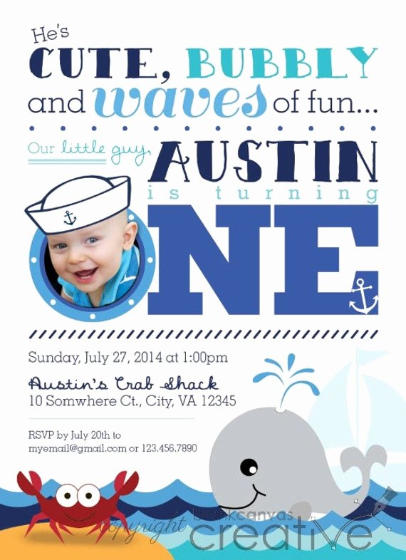 Nautical Invitation Template Free Luxury First Birthday or Party Invitation Nautical Crab and Whale