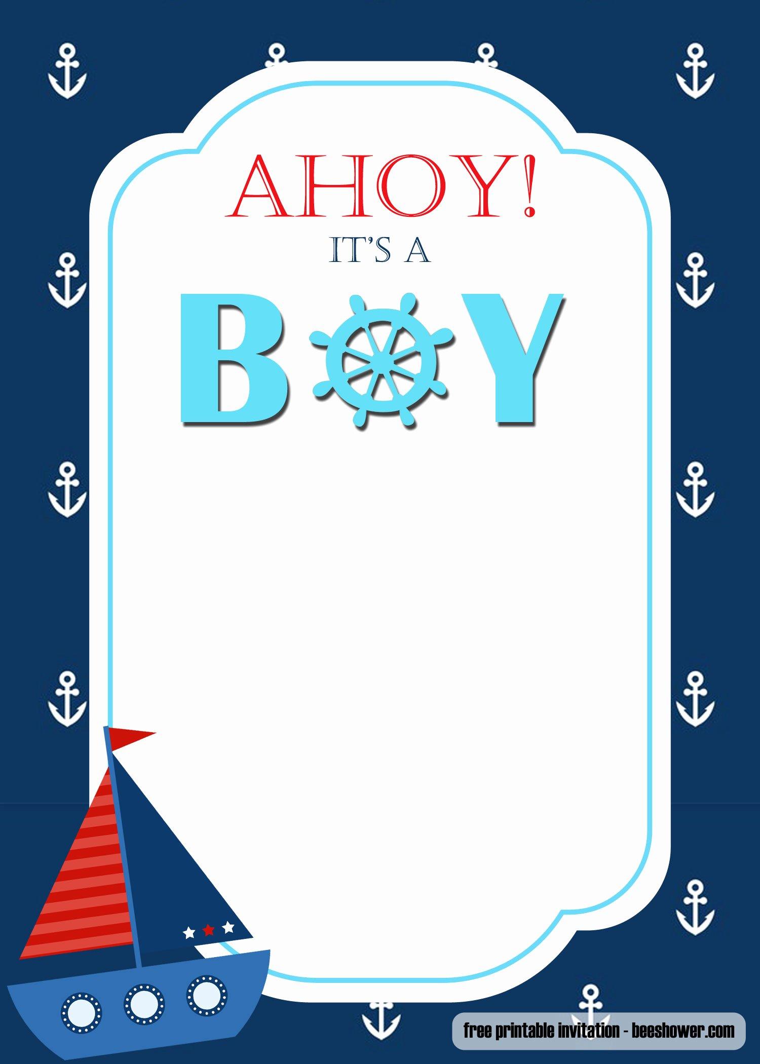 Nautical Invitation Template Free Luxury Free Nautical themed Baby Shower Invitations Templates