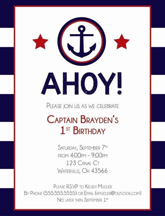 Nautical Invitation Template Free New Nautical Birthday Invitation