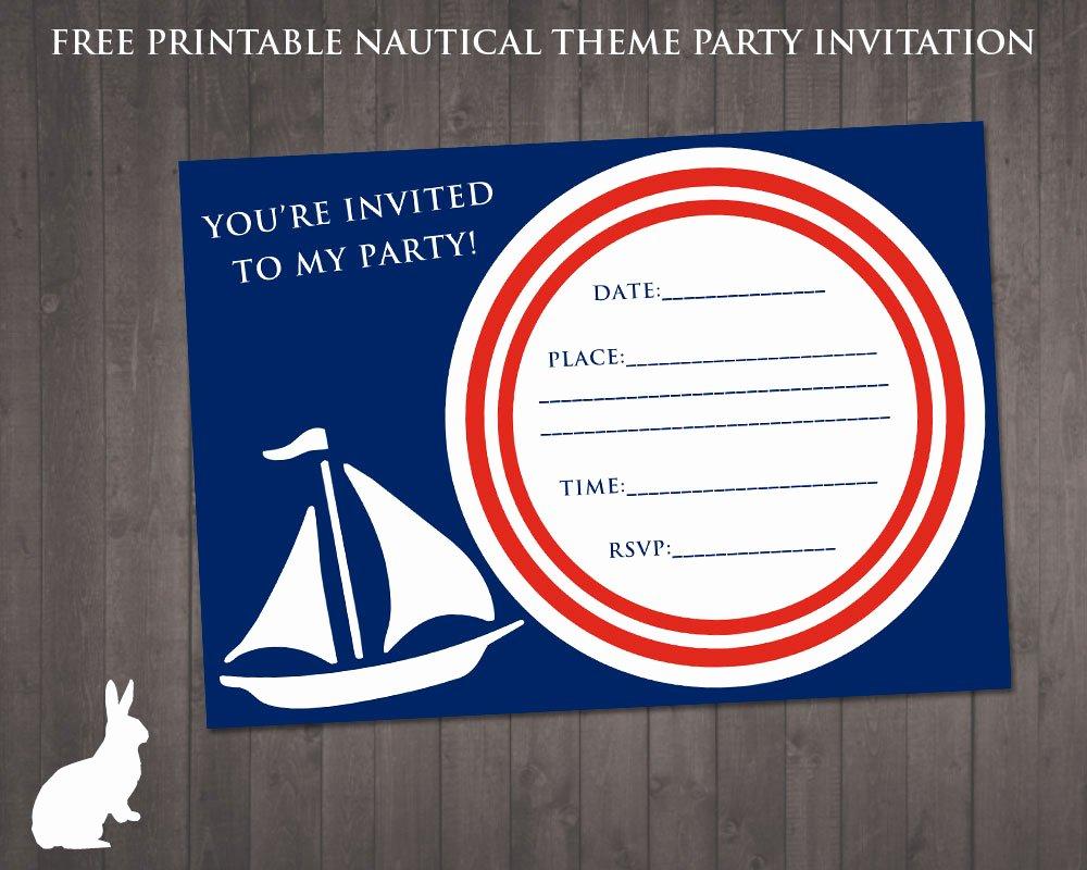 Nautical Invitation Template Free Unique Free Nautical Party theme Invitation