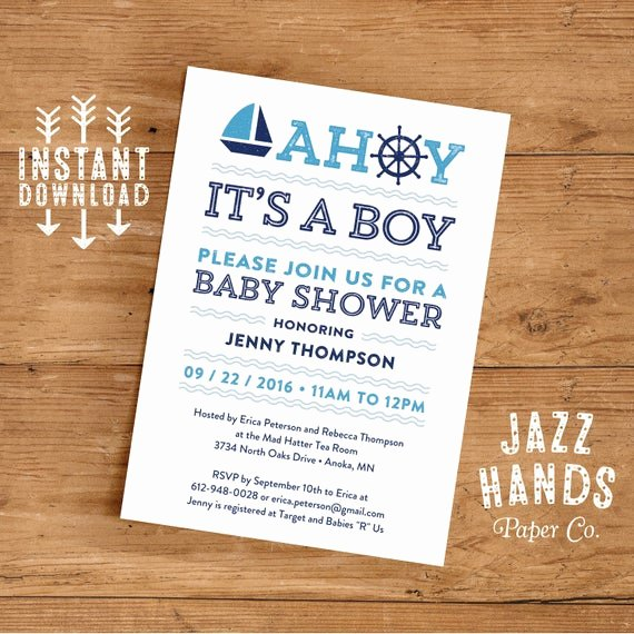 Nautical Invitation Template Free Unique Printable Nautical Baby Shower Invitation by Jazzhandspaperco