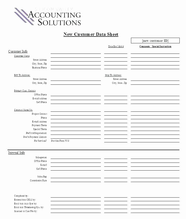 New Customer form Template Free Lovely New Customer Information Template
