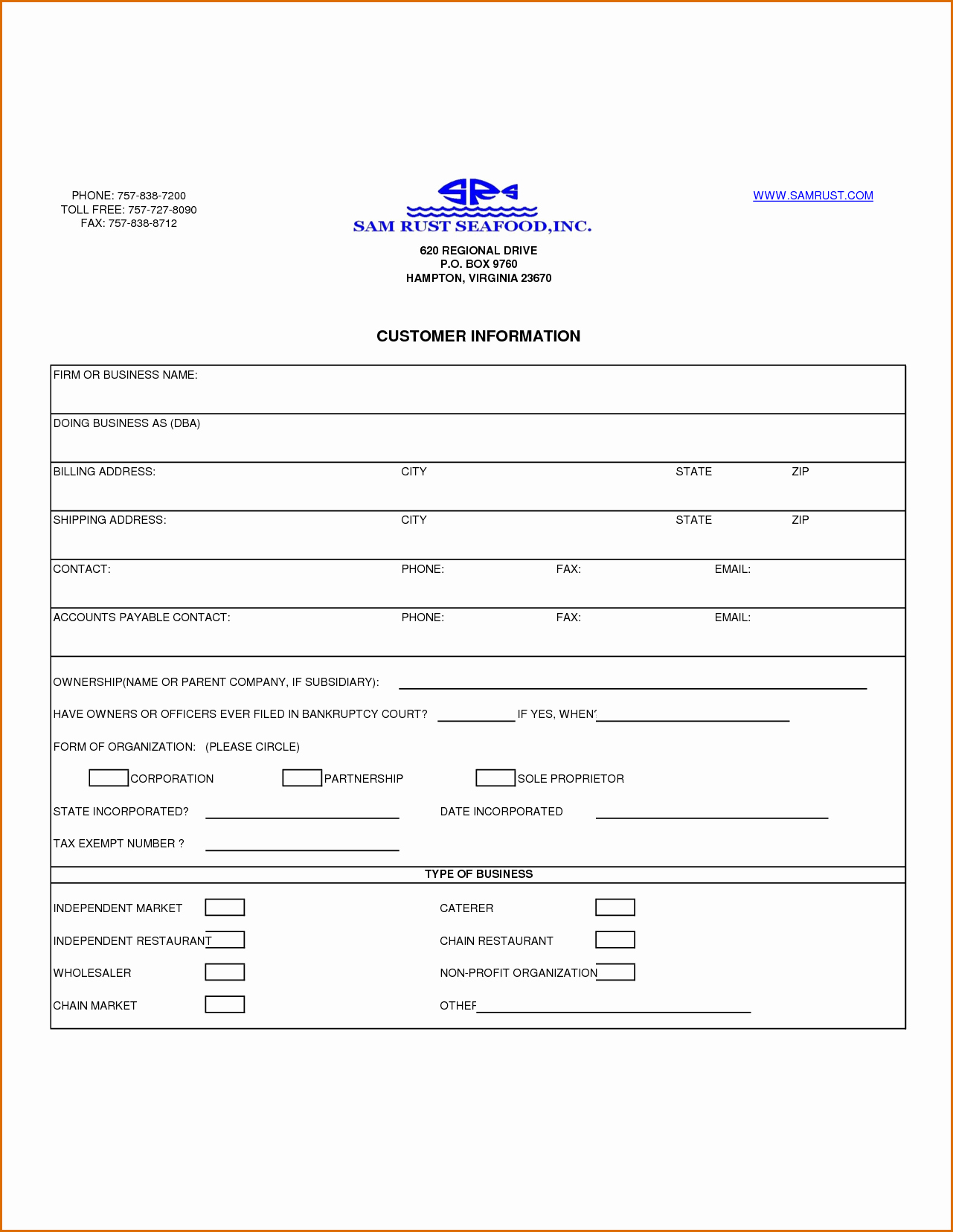 New Customer form Template Free New 13 Customer Information form Template