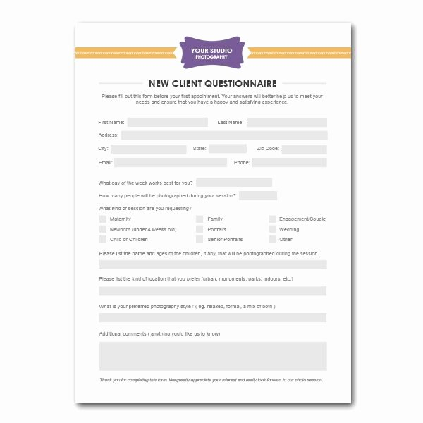 New Customer form Template Free Unique New Client Questionnaire form Template for Graphers
