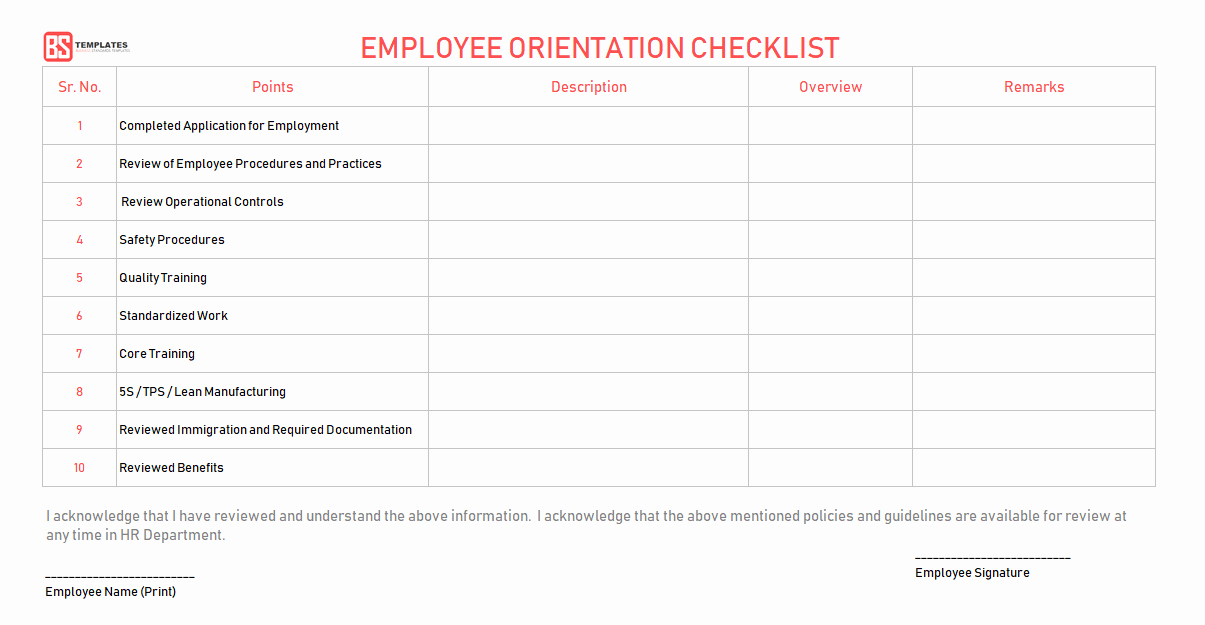 New Hire Training Plan Template Awesome New Employee orientation Checklist – Word Excel