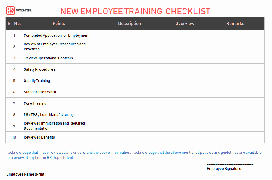 New Hire Training Plan Template Beautiful Employee Training Checklist Template for Excel & Word