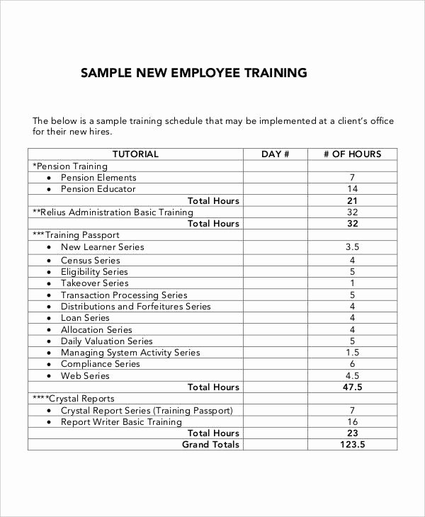 New Hire Training Plan Template Fresh 6 Employee Training Plan Templates Free Samples