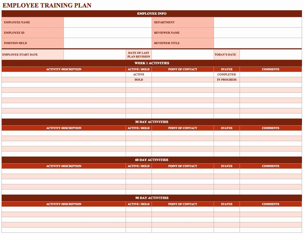 New Hire Training Plan Template Inspirational Employee Training Schedule Template In Ms Excel Excel