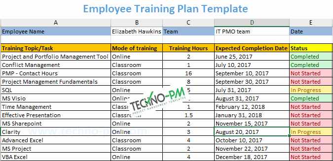 New Hire Training Plan Template Lovely Employee Training Plan Excel Template Download Project