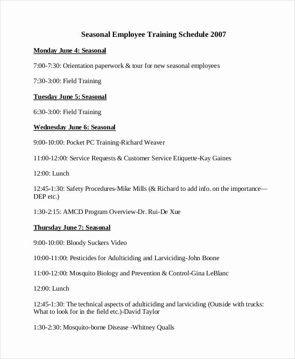 New Hire Training Plan Template Unique 15 Employee Training Schedule Template Word Pdf