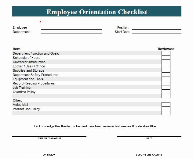 New Hire Training Plan Template Unique New Employee orientation Checklist Template Excel and Word