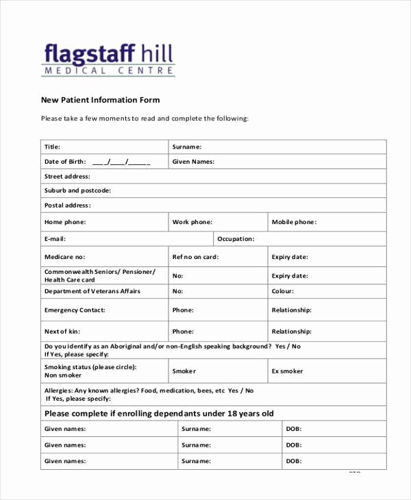 New Patient form Template Best Of Free 10 Sample Patient Information forms In Pdf