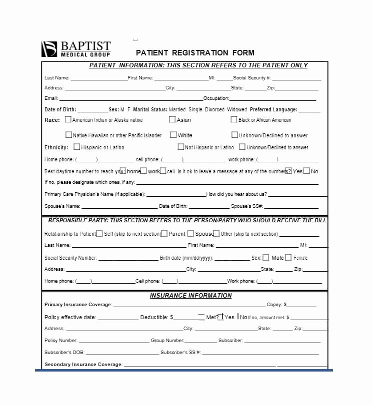 New Patient form Template Inspirational 44 New Patient Registration form Templates Printable