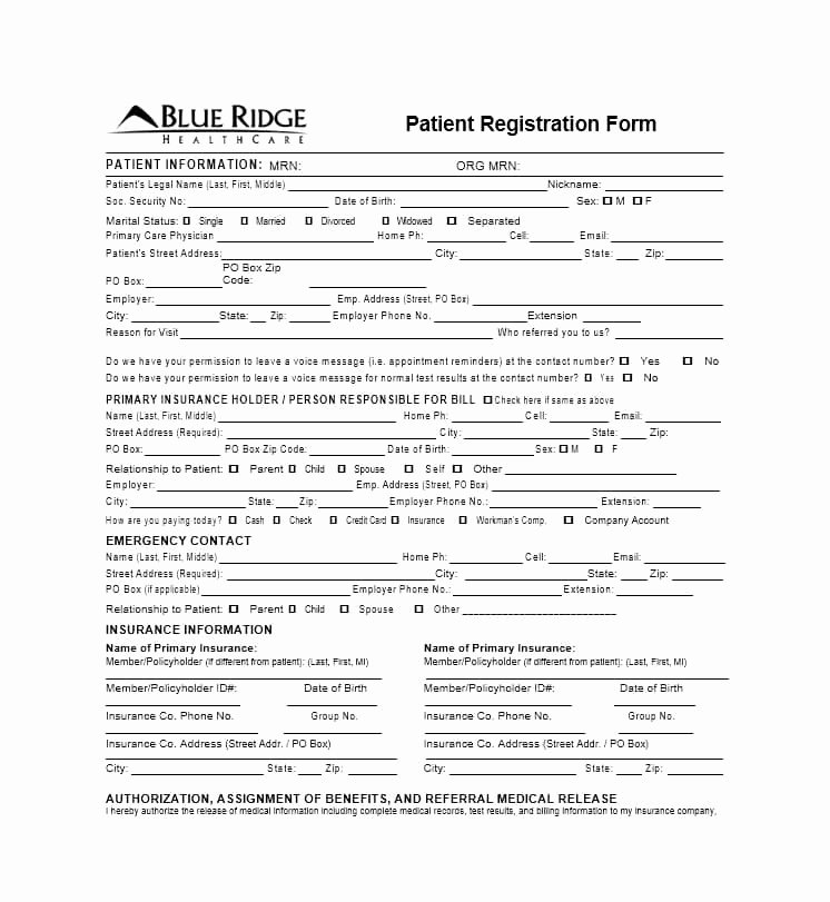 New Patient form Template Luxury 44 New Patient Registration form Templates Printable