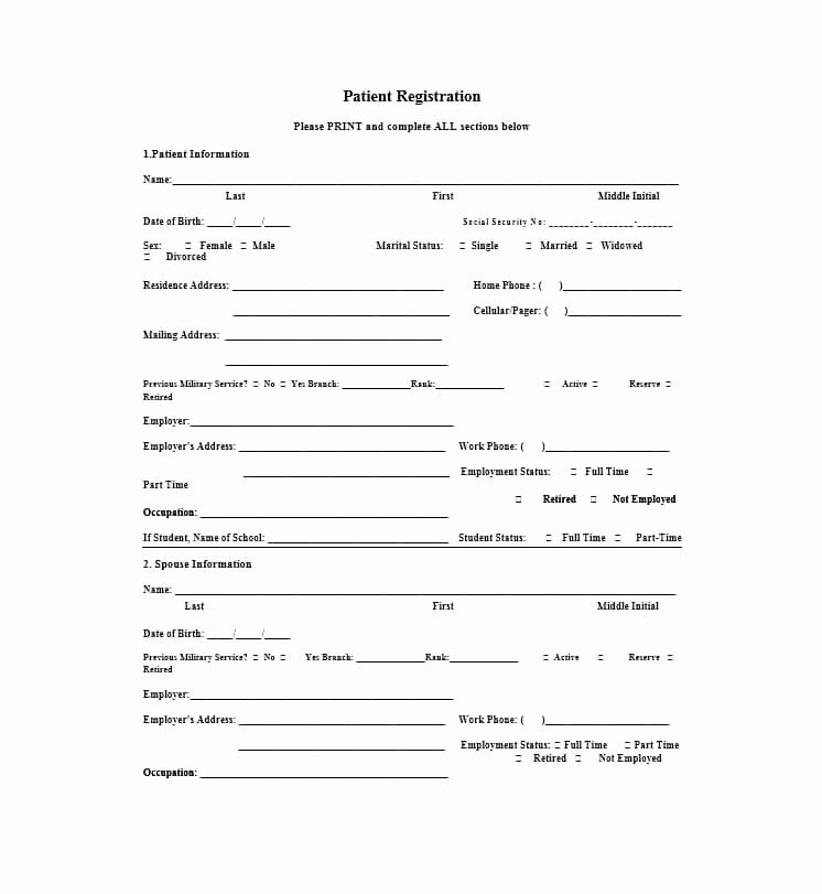 New Patient form Template Unique 44 New Patient Registration form Templates Printable