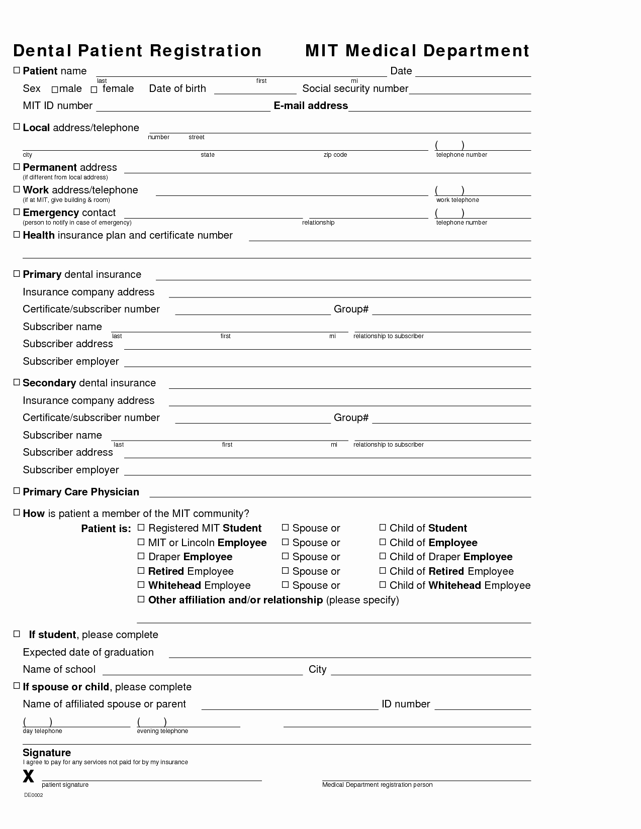 New Patient Registration form Template Awesome 27 Of Dental New Patient forms Template