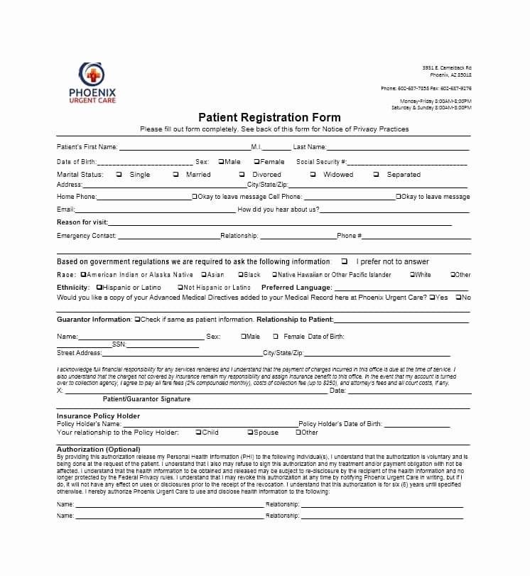 New Patient Registration form Template Beautiful 44 New Patient Registration form Templates Printable