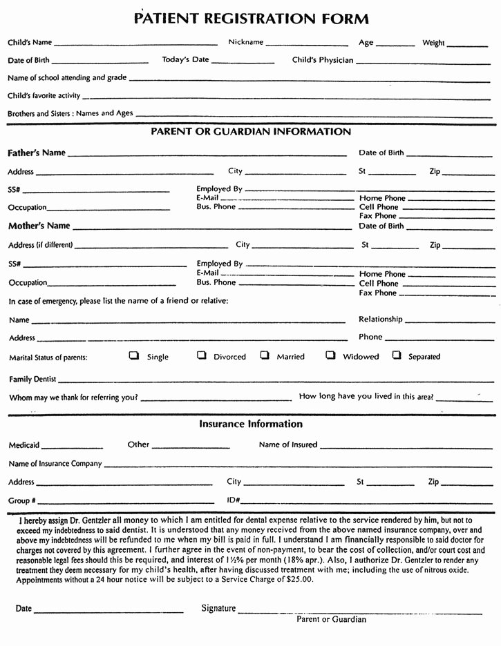 New Patient Registration form Template Beautiful Patient form Frompo