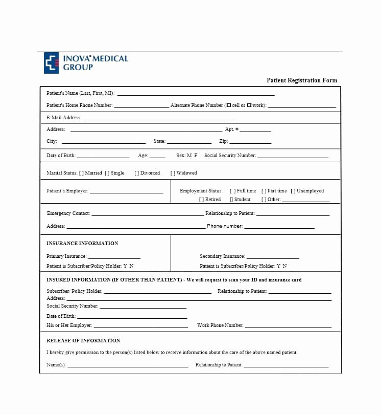 New Patient Registration form Template Fresh 44 New Patient Registration form Templates Printable