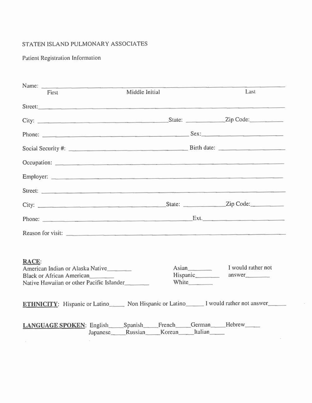 New Patient Registration form Template Fresh New Patient Registration form – Staten island Pulmonary
