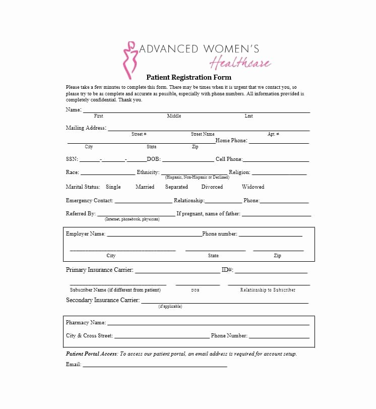 New Patient Registration form Template Lovely 44 New Patient Registration form Templates Printable