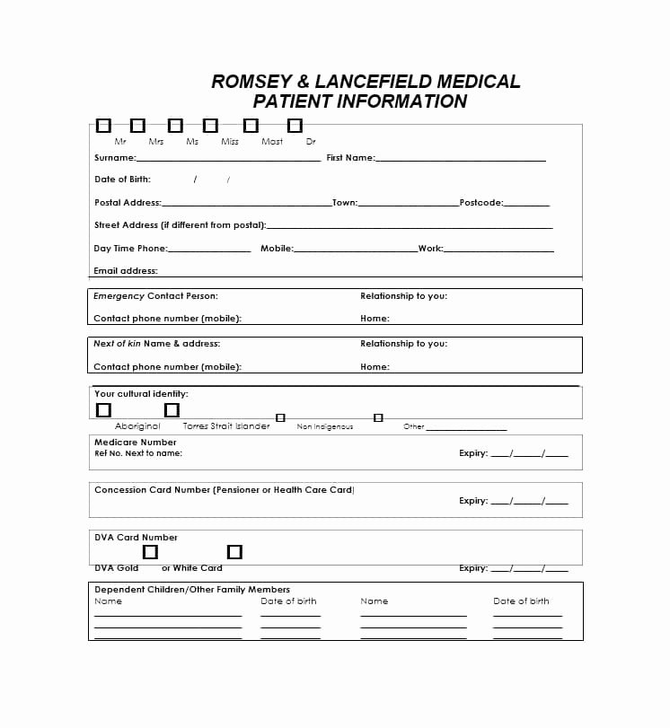 New Patient Registration form Template New 44 New Patient Registration form Templates Printable
