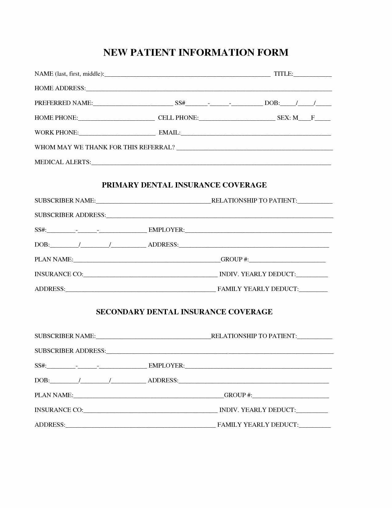 New Patient Registration form Template Unique 27 Of Dental New Patient forms Template