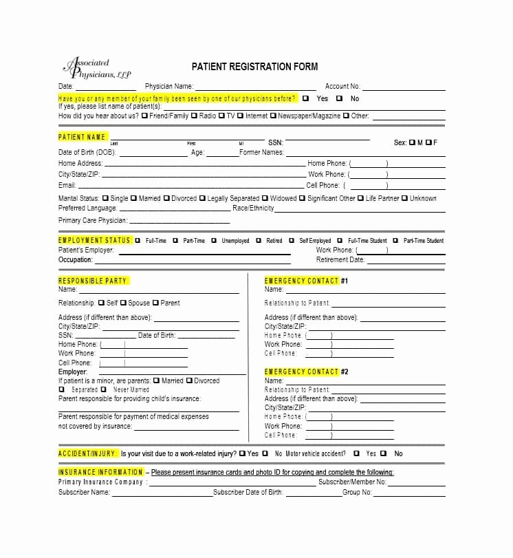 New Patient Registration form Template Unique 28 Of New Patient Registration form Template