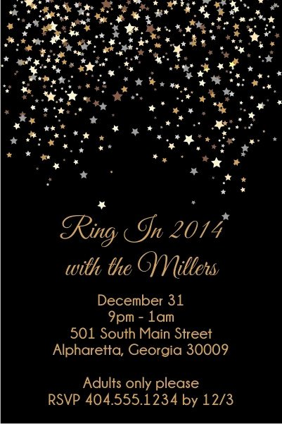 New Year Party Invitation Template Beautiful Star Confetti Christmas Holiday New Years Eve Party