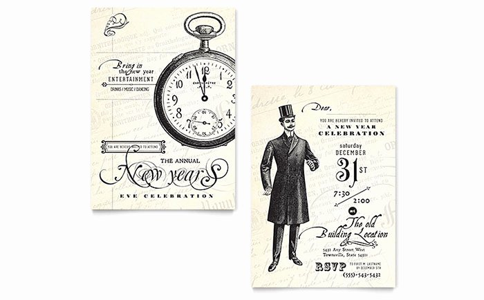 New Year Party Invitation Template Elegant Vintage New Year S Party Invitation Template Design
