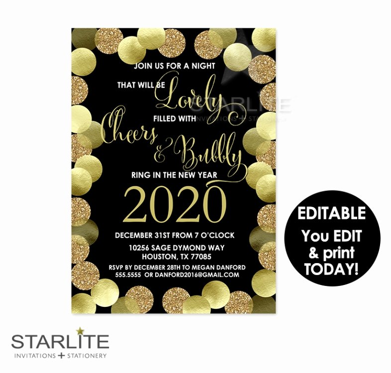 New Year Party Invitation Template New New Year S Party Invitation Printable Editable Instant