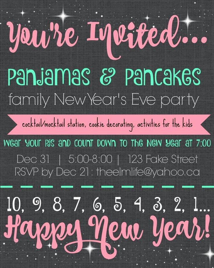 New Year Party Invitation Template Unique Pajamas & Pancakes Family New Year S Eve Party Invitation