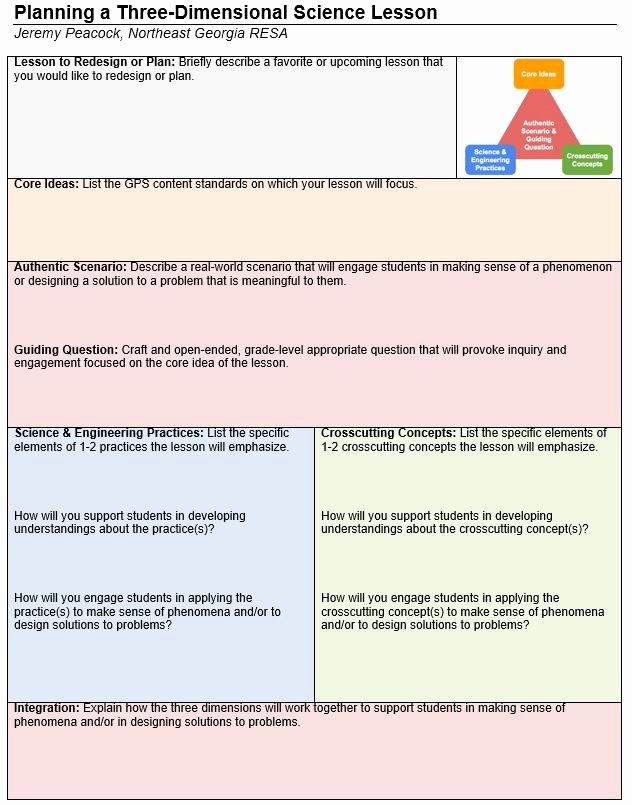 Ngss Lesson Plan Template Luxury Planning for Three Dimensional Learning